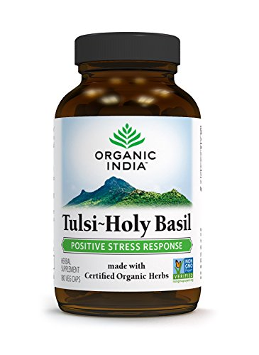 ORGANIC INDIA Tulsi - Holy Basil Supplement - Made with Certified Organic Herbs (Vegetarian Capsules, 180 Count) (Herbs Holy Basil)