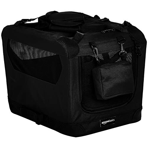 AmazonBasics Premium Folding Portable Soft Pet Dog Crate Carrier Kennel - 21 x 15 x 15 Inches, Black