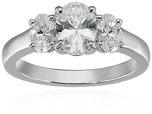 Platinum-Plated Sterling Silver Oval-Shape 3-Stone Ring made with Swarovski Zirconia (3 cttw), Size 6