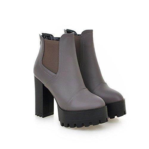 Qin&X Bloque Inferior Grueso Mujer Tacones Botines Cortos Zapatos con Plataforma,Gris,36