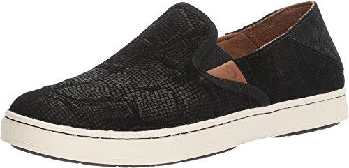 OLUKAI New Women's Pehuea Leather Slip On Black Honu/Black 7
