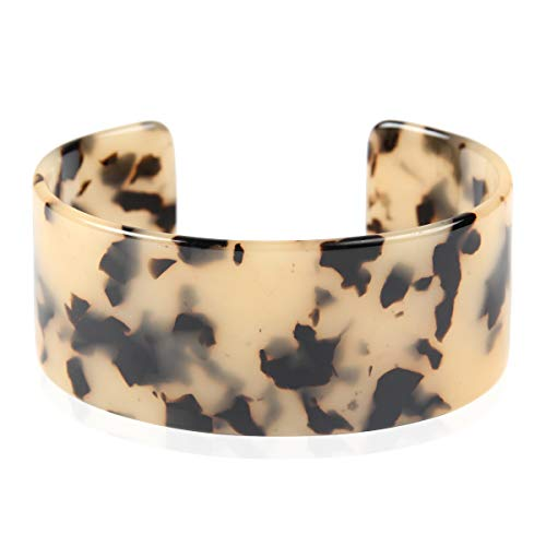 RIAH FASHION Lightweight Acrylic Open Cuff Statement Bracelet - Mottled Acetate Bangle Tortoise Shell/Leopard/Animal Design (Oversized - Light Brown)