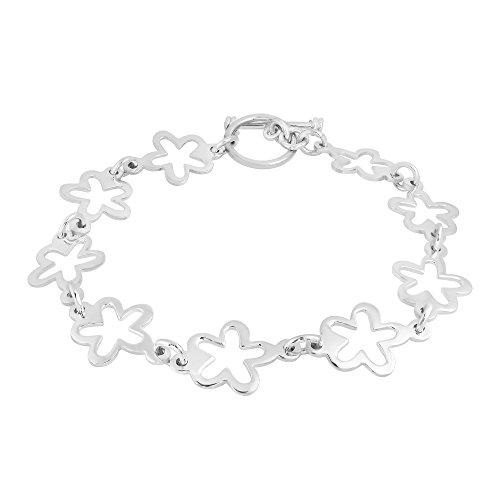 AeraVida Trendy Retro Flower (12 mm) .925 Sterling Silver Toggle Link Bracelet