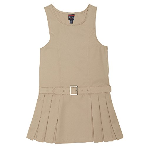 French Toast Big Girls' Side Pleat Belted Jumper, Khaki, 8 by French Toast