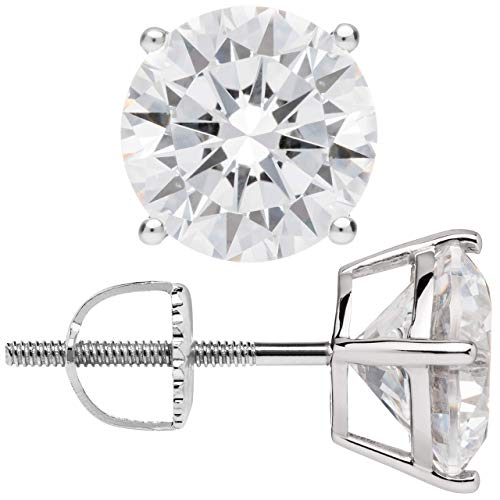 14K Solid White Gold Stud Earrings | Round Cut Cubic Zirconia | Screw Back Posts | 4.0 CTW | With Gift Box ()