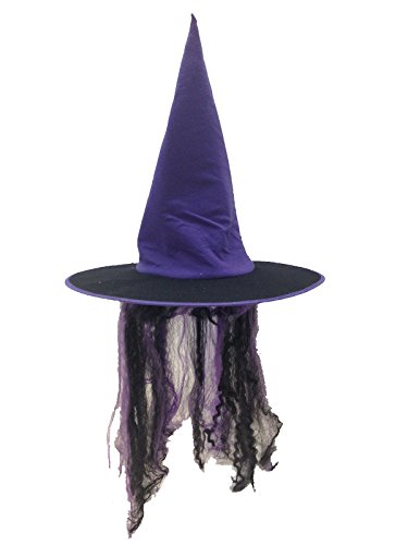 [Witch Hat with Hair in Orange or Purple (Purple)] (Adult Witch Mask With Hat And Hair)
