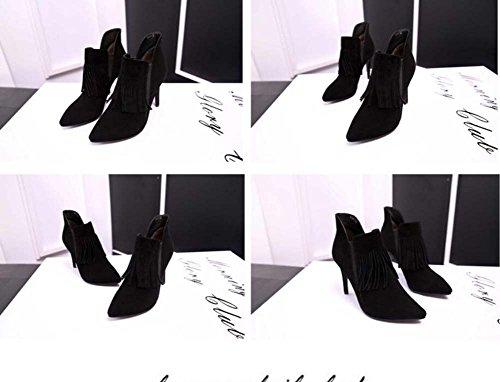 botas Eu pie de Chelsea botas zapatos mujeres de botas zapatos botas Seude 9cm Martin de desnudas boda dedo corto puro color del Scarpin Zipper Tassel botas tamaño Ol puntiagudo Color 44 32 vestir qvXtfz