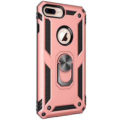 (iPhone 6 Plus/ 6S Plus case Protective Cover 360 Degree Ring with Holder Kickstand Hard Shell for Magnetic Car Mount (Pink))