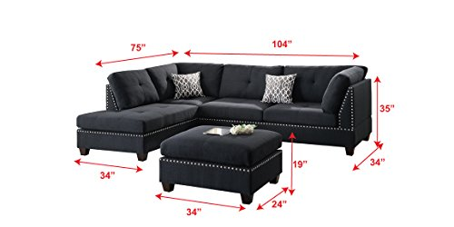 Poundex Bobkona Viola Linen-like Polyfabric Left or Right Hand Chaise SECTIONAL Set with Ottoman in Black