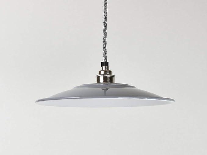 34b7ccf62dcb Flat Grey Industrial Enamel Vintage Factory Warehouse Style Light Lamp Shade:  Amazon.co.uk: Lighting