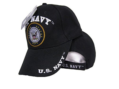 Black United States U.S. Navy Letters on Bill Emblem Embroidered Hat Ball Cap