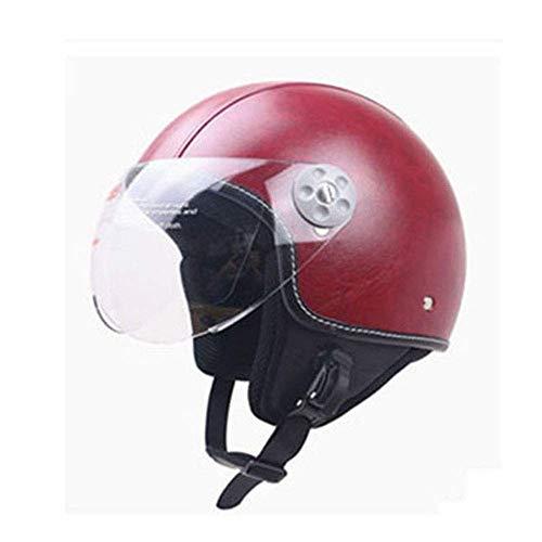 Street Legal Leather (Shfmx Motorcycle Crash Half Helmet, Motorcycle Helmet Sunscreen Visor Fast Buckle DOT Wholesale Men and Women Half face Riding Helmet,XL)