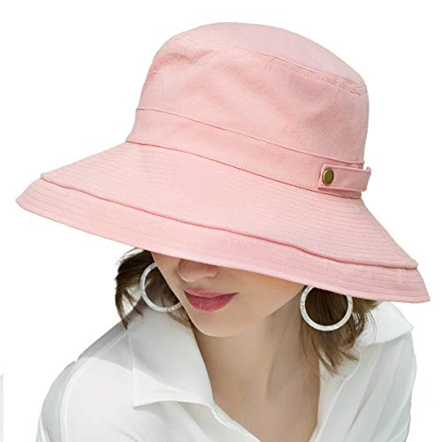 SOMALER Womens Cotton Wide Brim Sun Hats UPF50 UV Packable Beach Hat Summer Bucket Cap for Travel Pink ()