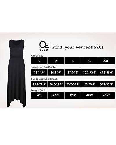 OUGES Women's V Neck Sleeveless Summer Casual Long Maxi Dresses(Navy,S) ¡ by OUGES (Image #5)