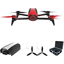 Parrot Bebop 2 Quadcopter Drone with HD 14MP Flight Camera (Red) All Inclusive Pack includes Drone, Extra Battery, and Parrot Hard Side Case