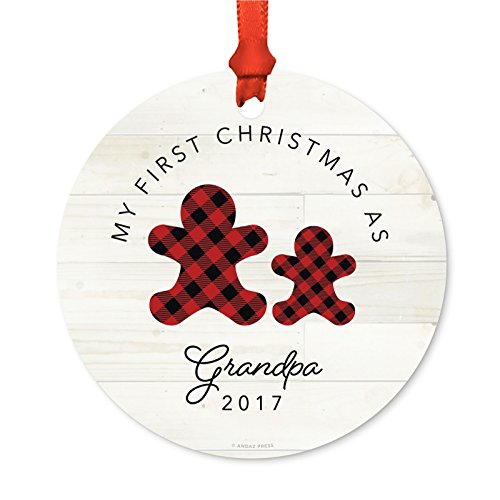Andaz Press Family Metal Christmas Ornament, My First Christmas As Grandpa 2019, Lumberjack Buffalo Red Plaid, 1-Pack, Includes Ribbon and Gift Bag