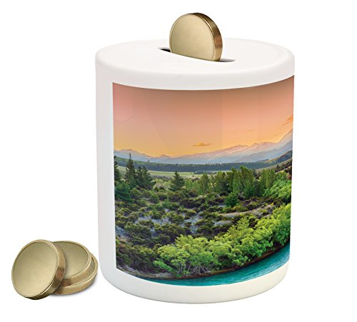 Eastern Coin Box Bank By Lunarable  Sunset Over Bend Of The River Clutha Alps Peaks On Horizon New Zealand  Printed Ceramic Coin Bank Money Box For Cash Saving  Apple Green Yellow Aqua