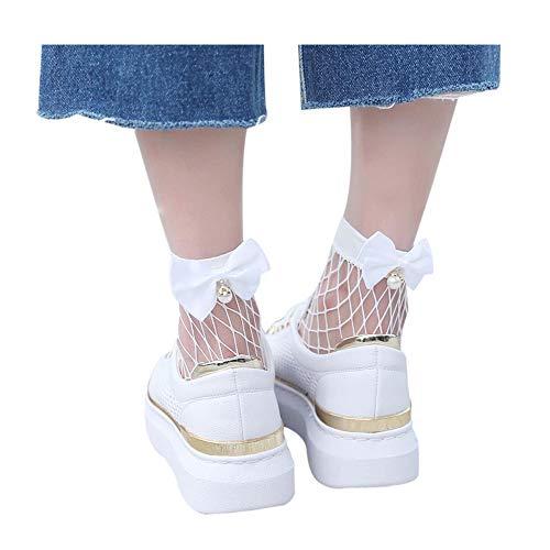 Womens Ruffle Bowknot Fishnet Ankle High Socks Mesh Lace Fish Net Short Socks (White)
