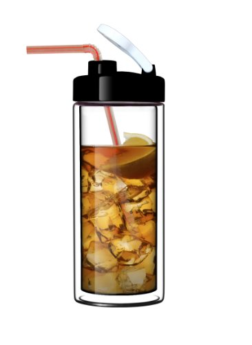 Glass Double-Wall Tumbler by Sun's Tea (TM) | 18oz Travel Mug with Lid | Ultra Clear (See-Thru) Borosilicate Glass