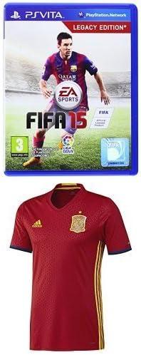 FIFA 15 + 1ª Equipación Selección Española de Fútbol Euro 2016 - Camiseta oficial adidas, talla M Authentic: Amazon.es: Videojuegos