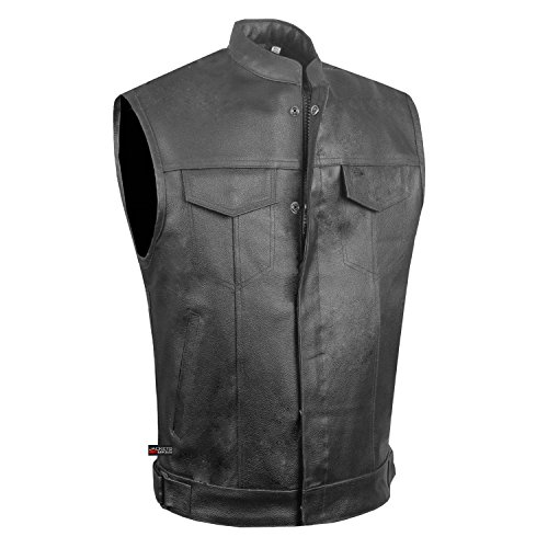 SOA Men's Leather Motorcycle Concealed Gun Pockets Armor Biker Club Vest S by Jackets 4 Bikes