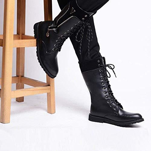 Noir coloré Taille Hommes Glissière Pour Intérieur Mi Bottes 42 Noir Eu Cuir 45 Taille Polaire Fermeture couleur Lacets Chaussures En mollet Martin Supérieur À Latérale Fuxitoggo BAq4w4