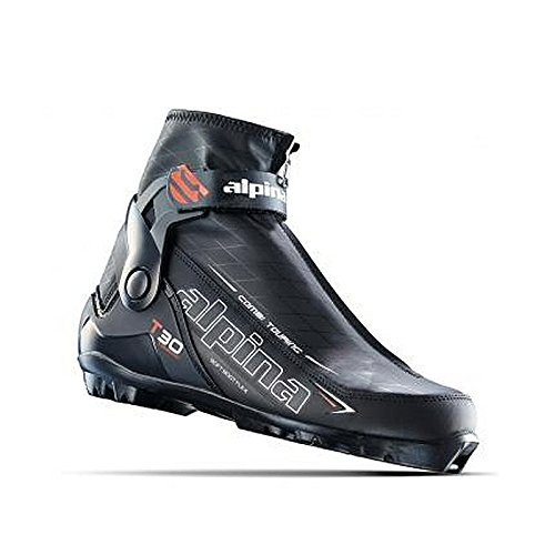 (Alpina Sports Women's T 30 Eve Touring Ski Boots with Cuff & Zippered Lace Cover, Euro 41, Black/White/Blue)
