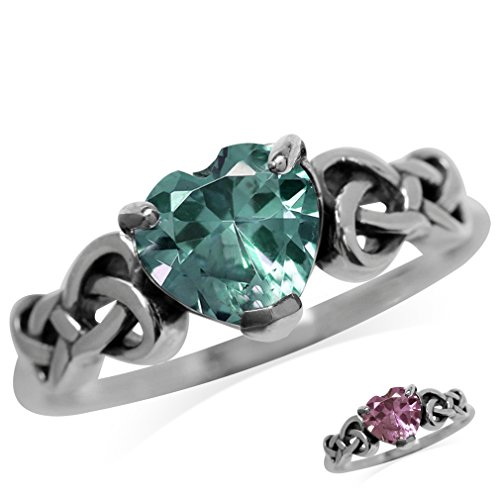 Heart Shape Simulated Color Change Alexandrite 925 Sterling Silver Celtic Knot Ring Size (Simulated Alexandrite Ring)