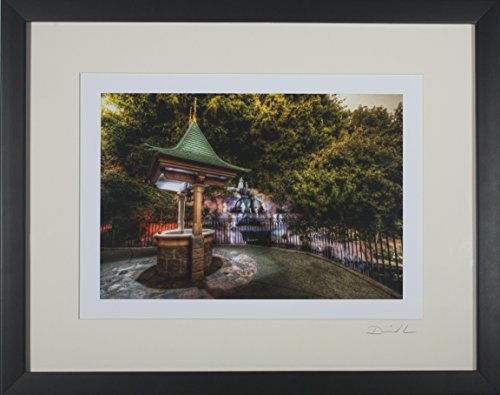 Disneyland - Snow White Wishing Well & Grotto Framed Matted Photo - 11 x 14