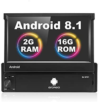 Android 1 DIN Radio Coche, 7 Pulgadas HD 1080P Pantalla táctil Plegable 2 + 16G Multimedia MP5 GPS Bluetooth WiFi Radio FM Teléfono móvil Enlace Espejo con AUX-in/USB + Cámara de Respaldo