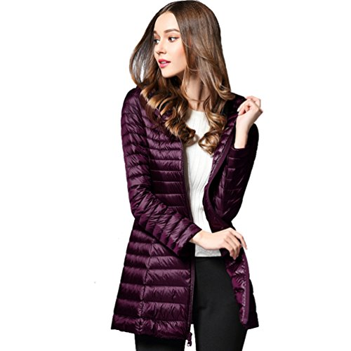 and Padded Windproof Slim ZKOO Packable Womens Puffer Jacket Winter Outwear Autumn Fit Purple Hoodie Lightweight Coat Down Jacket zfpfZ7q