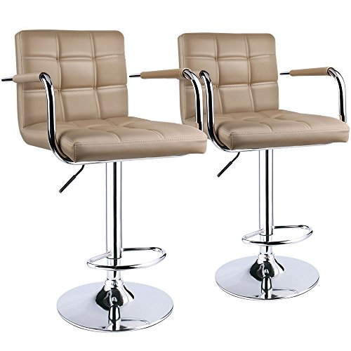 Leopard Square Back Adjustable Bar Stools with armrest,Swivel Bar Stool Set of 2, Black Khaki