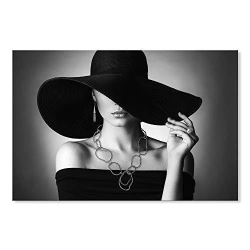 SEVEN WALL ARTS -Modern Canvas Print Art Figure Black Hat Wall Pictures Giclee Print on Canvas Stretched for Bedroom Ready to Hang 24 x 36 -