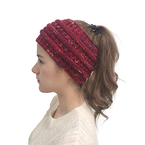 Winter Warm Wool Crochet Knit Hat Headgear,Crytech Women's Ponytail Messy Bun BeanieTail Knitting Headband Fleece Lined Head Wrap Cap Soft Stretch Cable Knitted Ribbed Skull Hat for Girls (Red)