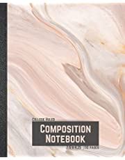 Composition Notebook: College Ruled Notebook, 7.5 x 9.25 in, 110 pages | Pink Flowing Marble Cover