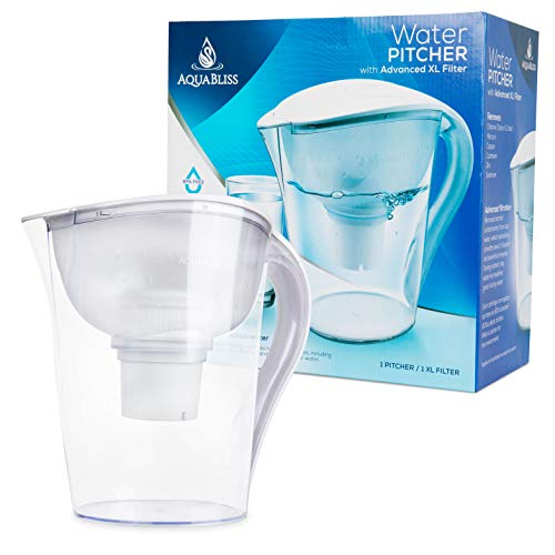 AquaBliss 10-Cup Water Filter Pitcher w/Longest Lasting Advanced XL Water Purification Filter - Filtered Water Pitcher Removes Harmful Contaminants Chlorine Metals & Sediments for Clean Tasting Water (The Fastest Way To Clean Out Your System)