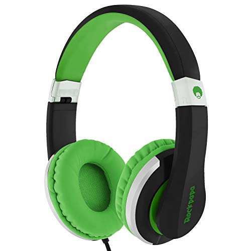 RockPapa I22 Foldable Adjustable On Ear Headphones with Microphone for Kids/Adults iPhone iPad iPod Tablets MP3/4 DVD Computer Black/Green - Green Portable Headphone