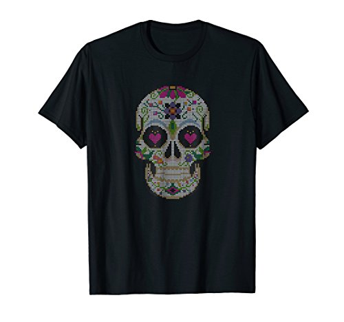 Sugar Skull Real Printed Cross Stitch Chart on a Shirt (Chart Needlepoint)