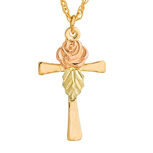 - Black Hills Gold Rose on Cross Pendant Necklace