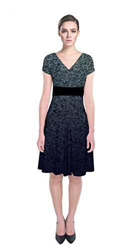 (CowCow Womens Tweed Short Sleeve Front Wrap Dress, Tweed - 3XL)