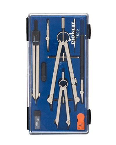 Pickett Professional 4-Piece Drafting Set, Includes Pen/Pencil Compass, Small Pencil Compass, Divider, Ruling Pen and More, 1 Each (Professional Brass Pencil Compass)