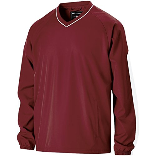 Adult Windshirt - Holloway Adult Bionic Pullover Windshirt (XX-Large, Cardinal/White)