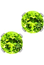 1.00 Ct Round Natural Green Peridot .925 Sterling Silver 5.00mm Stud Earrings