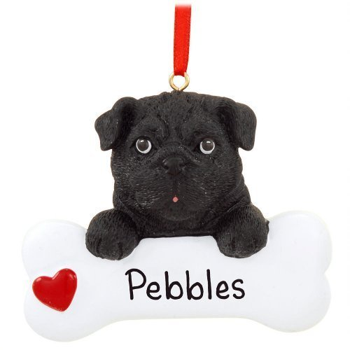 Black Pug Ornament by Rudolph and Me