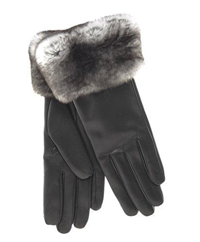 (Fratelli Orsini Women's Italian Orylag Rabbit Fur Cuff Cashmere Lined Winter Leather Gloves Size 7 Color Black)