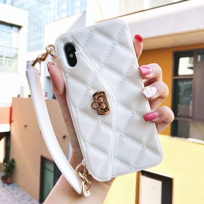 Maxlight Luxury Wallet Card Soft Silicon Phone Case Cover for iPhone Xs Max XR X 7 8 Plus Women Handbag Cases with Long Chain (White, for iPhone Xs Max)