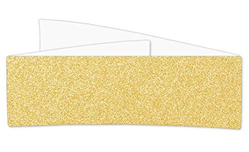 Sparkle Gold Glitter Invitation Belly Bands, MirriSPARKLE, 12 Inch, 25 pack
