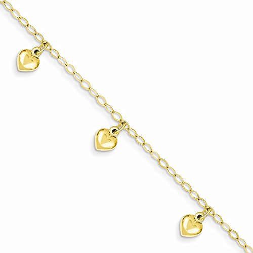 14K Gold Child's Puffed Heart Charm Pendant Bracelet 6 Inches (0.24 Inches Wide)