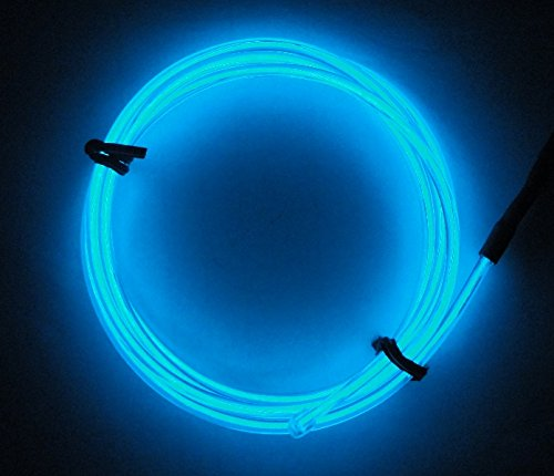 9ft Aqua-blue Neon Glowing Electroluminescent Wire (El Wire)