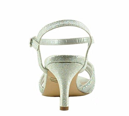 Blossom Vero 55 Womens Peep Toe Mesh Crystal Embellished Heel Silver R44T8